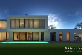 Проект двухэтажного частного дома с бассейном